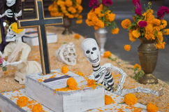 Mexican sculptures of a skeletons, day of dead, Mexico City Stock Images
