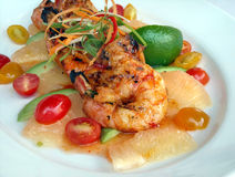 Mexican seafood plate. Shrimp plate at a fancy New York restaurant royalty free stock images