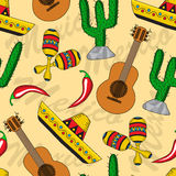 Mexican seamless background. Seamless background with Mexican sombreros, guitars, maracas and cacti Stock Photo