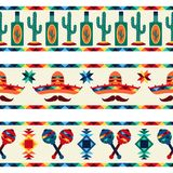 Mexican seamless borders with icons in native stock illustration