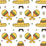 Mexican seamless pattern background with maracas, sombrero, tequila. Cinco de Mayo background