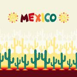 Mexican seamless pattern with cactus in native Royalty Free Stock Photo