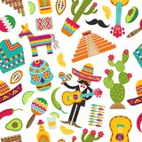 Mexican seamless pattern. Colored pictures of various mexican symbols vector illustration