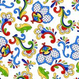 Mexican seamless pattern flowers. Mexican seamless pattern with flowers. Traditional decorative objects. Talavera ornamental ceramic. Ethnic folk ornament royalty free illustration