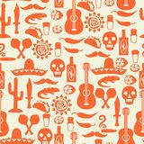 Mexican seamless pattern with icons in native Royalty Free Stock Photo
