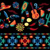 Mexican seamless pattern with icons in native Stock Photos