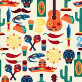 Mexican seamless pattern with icons in native Royalty Free Stock Photography