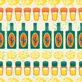 Mexican seamless pattern with tequila in native Royalty Free Stock Image