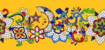 Mexican seamless pattern. Traditional decorative objects. Talavera ornamental ceramic. Ethnic folk ornament vector illustration