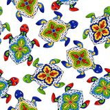 Mexican seamless pattern with turtles. Traditional decorative objects. Talavera ornamental ceramic. Ethnic folk ornament vector illustration