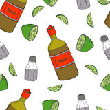 Mexican seamless pattern. Vector seamless pattern with mexico traditional drink. Tequila bottle, lime and salt Stock Illustration