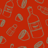 Mexican seamless pattern. Vector seamless pattern with mexico traditional drink. Tequila bottle, lime and salt Royalty Free Stock Photo