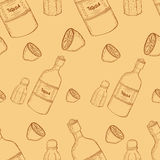 Mexican seamless pattern. Vector seamless pattern with mexico traditional drink. Tequila bottle, lime and salt Royalty Free Stock Photography