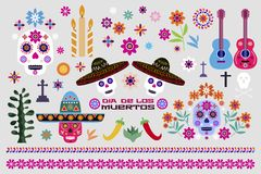 Mexican set elements5 vector illustration