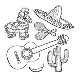 Mexican set sombrero, pinata, maraca, cactus, chili and spanish guitar. Mexican set - sombrero, pinata, maraca, tequila cactus, chili spanish guitar, black white stock illustration