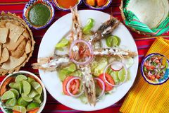 Free Mexican Shrimps With Butter Cream Chili Sauces Stock Photos - 18807053