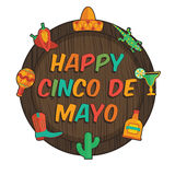 Mexican sign. Wooden plaque with mexican cinco de mayo decorations, isolated on white