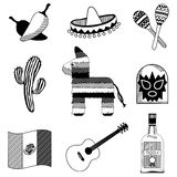 Mexican silhouettes stock illustration