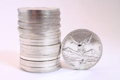 Mexican silver coins Royalty Free Stock Photography