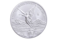 Mexican silver libertad coin Royalty Free Stock Photos