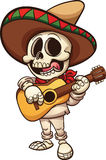 Mexican skeleton. Mexican musician skeleton with guitar. Vector clip art illustration with simple gradients. All in a single layer Royalty Free Stock Image