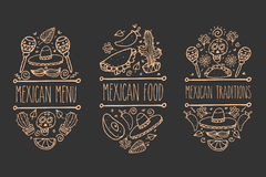 Mexican sketch doodle collection, vector hand drawn label elements. Skull, sugarskull, sombrero, avocado, chili, cactus, lime, lem. Native traditional food and Stock Image
