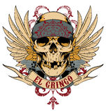 El gringo. Mexican skull with bandana , wings and guns vector format royalty free illustration
