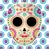 Mexican skull death mask with flowers royalty free illustration