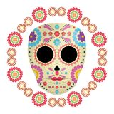 Mexican skull death mask with flowers. Vector illustration design vector illustration