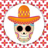 Mexican skull death mask with mariachi hat in floral background royalty free illustration