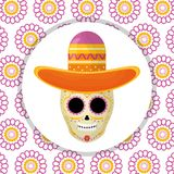 Mexican skull death mask with mariachi hat in floral background stock illustration
