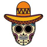 Mexican skull death mask with mariachi hat. Vector illustration design stock illustration