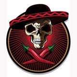 Mexican skull emblem or icon Royalty Free Stock Photography