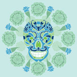 Mexican skull with marigold pattern. Mexican skull - calavera, surrounded by a circle of marigold flowers Stock Images