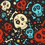 Mexican skull pattern. Day of The Dead colorful. Day of The Dead colorful mexican skull with floral ornament and flower seamless pattern stock illustration