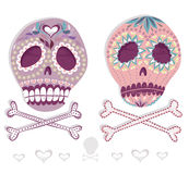 Mexican skull set. Colorful skulls with flower and Royalty Free Stock Photos