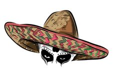 Mexican skull vector with sombrero on background. royalty free illustration