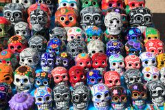 Mexican skulls colorful ceramic Day of the Dead Royalty Free Stock Photos