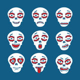 Mexican skulls emoticons. Emoticons of mexican skulls - calaveras,  with colorfull expressions, flat style Royalty Free Stock Images