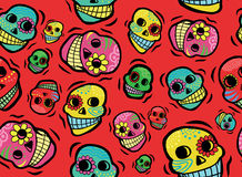 Mexican Skulls Seamless Pattern. Cool Mexican Day of the Dead Skulls Seamless Pattern Royalty Free Stock Photography