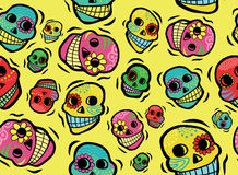 Mexican Skulls Seamless Pattern Stock Image