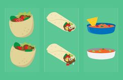 Mexican Snacks 002. A variety of delicious Mexican food, sauces and snacks eaten in every part of the World stock illustration