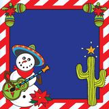 Mexican Snowman Christmas card Royalty Free Stock Image