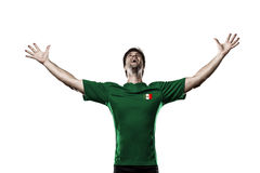 Mexican soccer player. Celebrating on the white backgrond stock photos