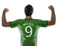 Mexican soccer player on white background Royalty Free Stock Image