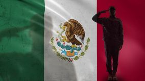 Mexican soldier silhouette saluting against national flag, protection territory. Stock footage stock video footage