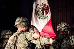 Mexican soldiers at independence celebration Stock Photo