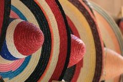 Mexican sombrero. Detail of colourful mexican sombreros Stock Photos