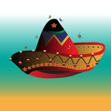 Mexican sombrero. Abstract illustration with small bees flying above a colorful mexican sombrero royalty free illustration