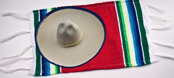 Mexican Sombrero and Blanket. Isolated on a white background Royalty Free Stock Images